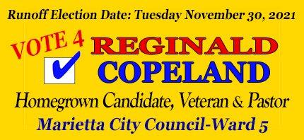 Elect Reggie Copeland on November 2, 2021